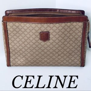 CELINE GORGEOUS  LEATHER CLUTCH/BAG MACADAM BROWN